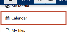 The calendar as it appears in the navigation menu. In this picture, it is marked with a red border.