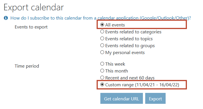The export calendar screen. The options suggested above are marked with red borders