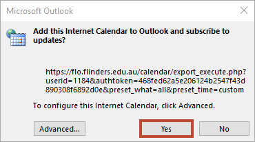 A picture of the box that appears asking you to receive updates from the calendar