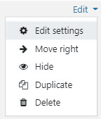 The options in an edit menu - edit settings, move right/move left, hide/show, duplicate, delete.