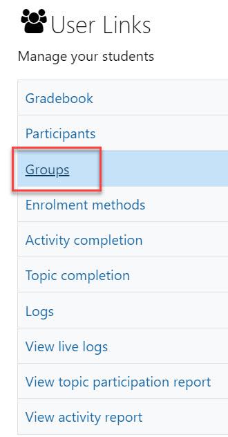groups under user links