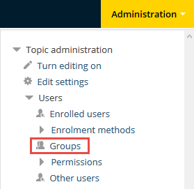 Topic administration block groups