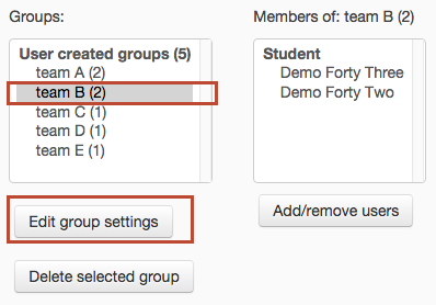 select group then click 'edit group settings'