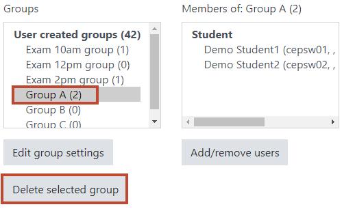 select group then press delete