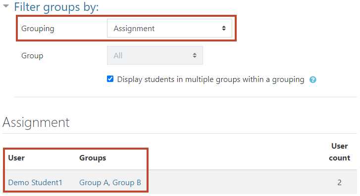 select grouping, select 'display students in multiple groups within a grouping' and see below
