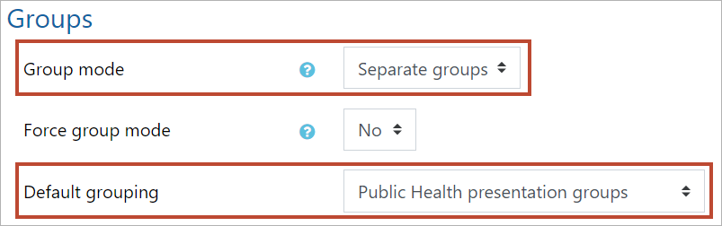 Groups settings for topic filtering