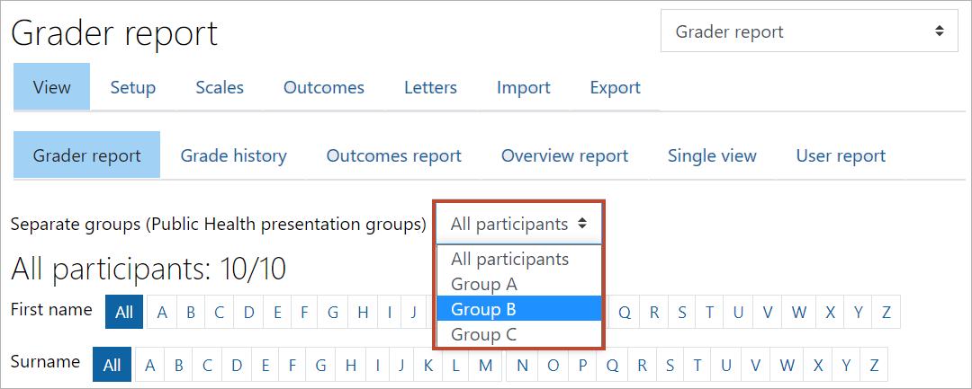 Filter groups in gradebook