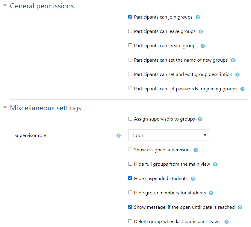 General permissions and miscellaneous settings for group self-selection activity