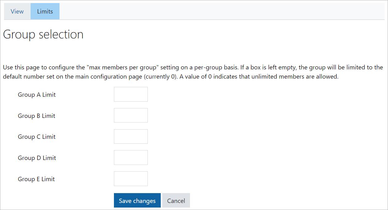 Group self-selection limits tab