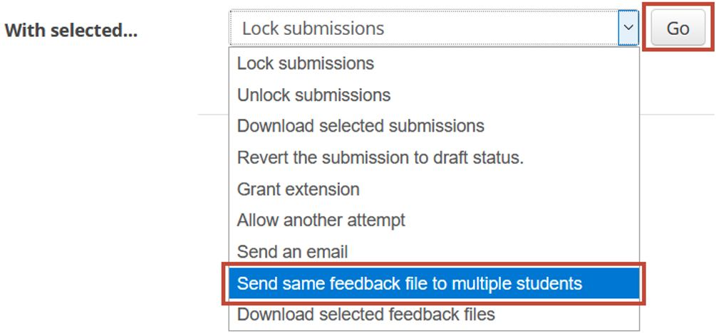 Send feedback file to multiple students