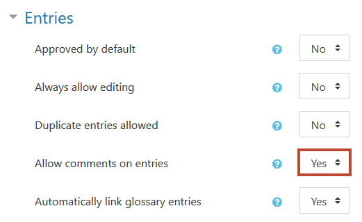 'Allow comments on entries' is the second to last option in this section. The default option is 'no'.