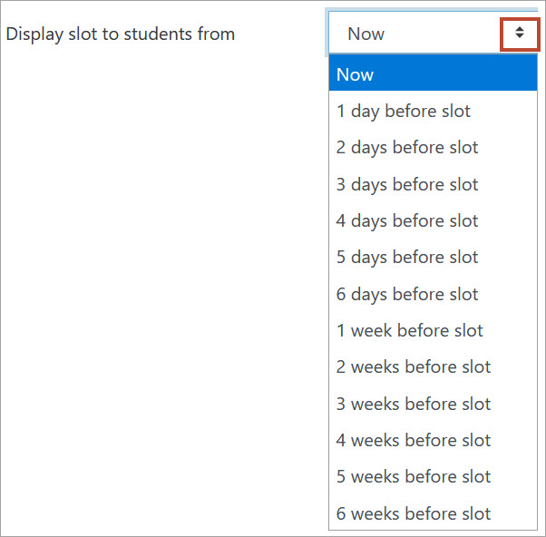 Display slot to students from setting
