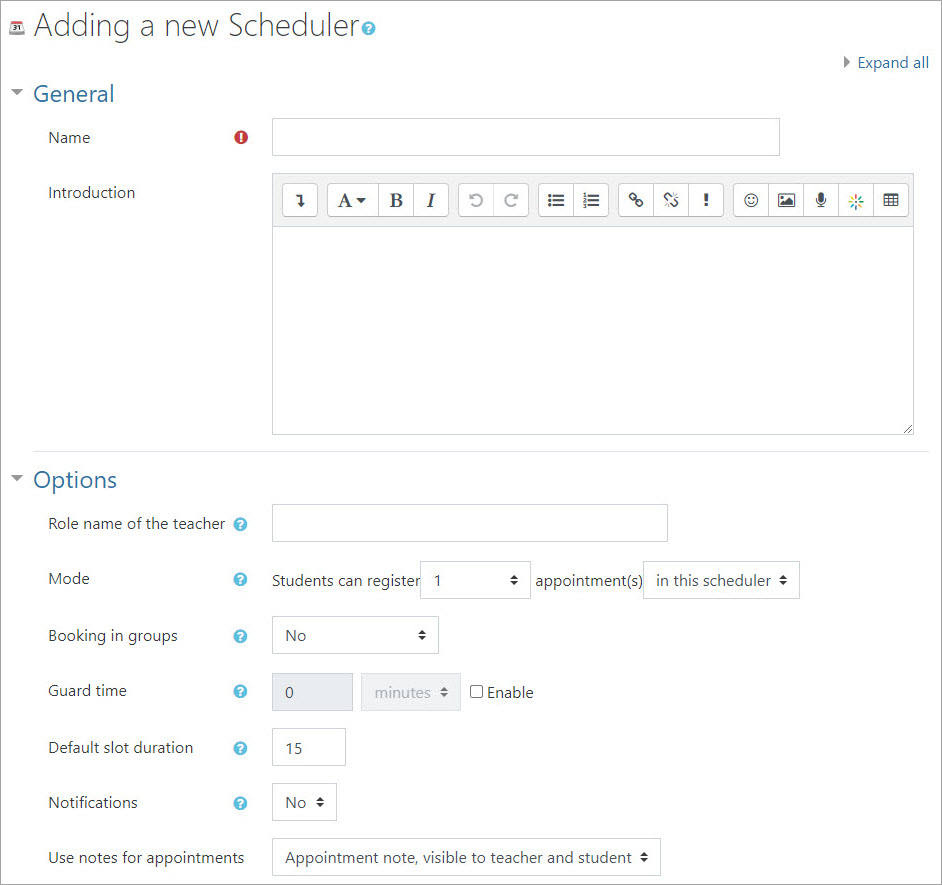 Adding a new Scheduler settings