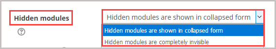 hidden modules section