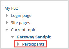 In the Navigation block, select 'participants'