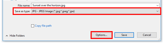Make sure the 'save as type' is set to jpg, and click on the options button
