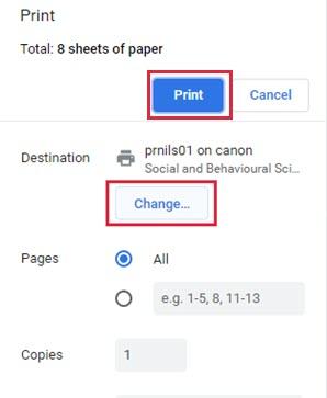 Print or Change destination