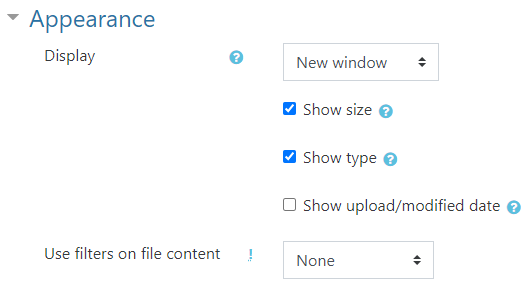 file - appearance