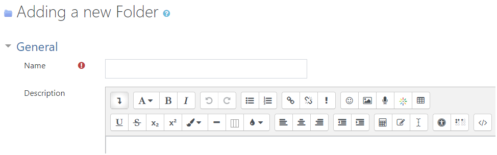 Folder name and description