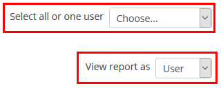 Select a student from the menu, and view report as user