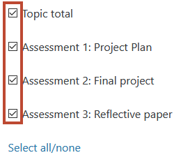 only tick the assesment grades that you need to export