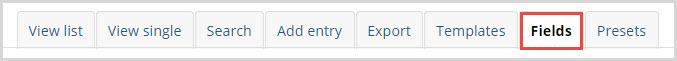 database fields tab