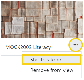 Click the elipses then select 'star this topic'