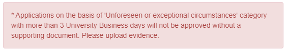 Red error message received when supporting documentation is required but not supplied.