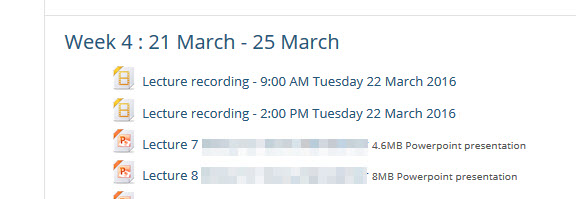 lecture recordings in a weekly module view