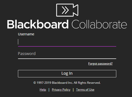Blackboard collaborate login page