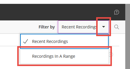 select recordings in a range from the dropdown menu