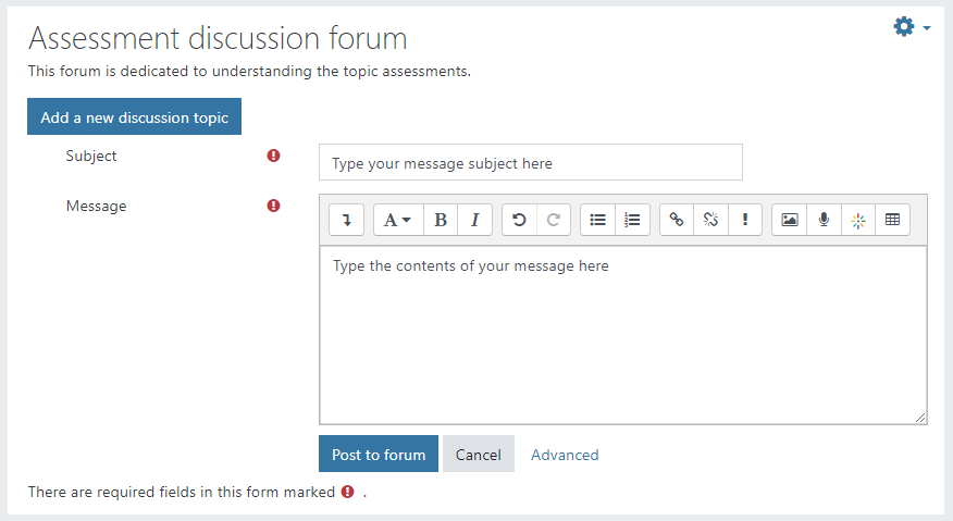 write your subject and message, then click 'post to forum'