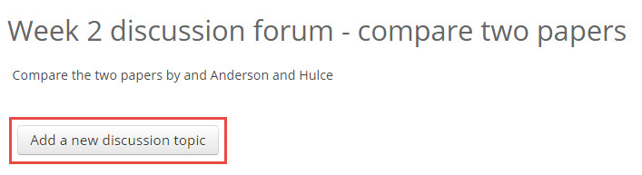 the 'add a new discussion topic' button within a forum