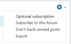 actions cog menu with the options to subscribe, track unread posts, and export
