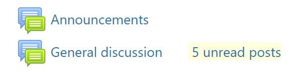 The announcements and general discussion forums, showing unread posts in yellow