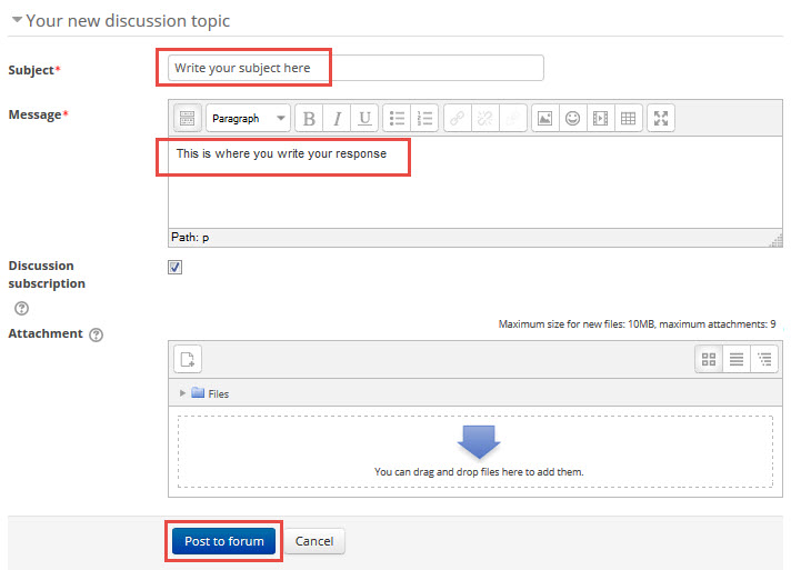 Write your forum post - 'subject' and 'message' fields highlighted