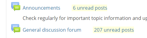 unread forum post notifications appear beside each forum