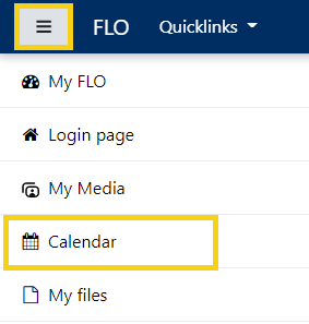 The FLO navigation menu with the Calendar option highlighted.