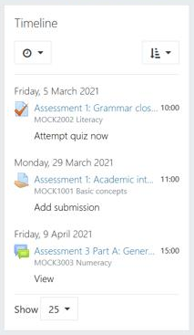 Example timeline showing upcoming assessment due dates