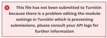 A red message reading 'this file has not been submitted to Turnitin because there is a problem ...'