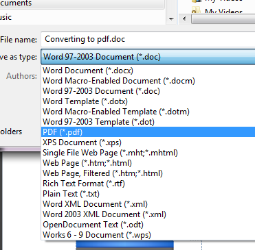 select pdf from the drop-down menu