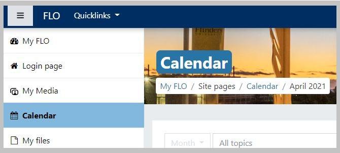FLO Menu options list, calendar as the fourth option down