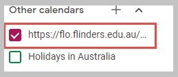 Image of FLO calendar in Google calendar options
