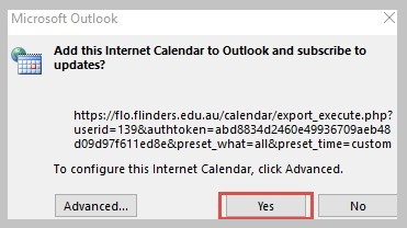 Image of dialogue box confirming adding calendar